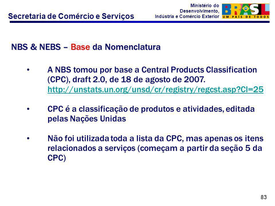 Secretaria de Comércio e Serviços Ministério do Desenvolvimento, Indústria e Comércio Exterior 83 A NBS tomou por base a Central Products Classification (CPC), draft 2.0, de 18 de agosto de 2007.