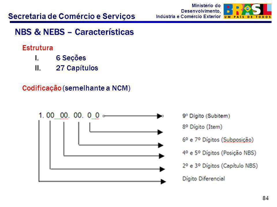 Secretaria de Comércio e Serviços Ministério do Desenvolvimento, Indústria e Comércio Exterior 84 Estrutura I.6 Seções II.27 Capítulos Codificação (semelhante a NCM) NBS & NEBS – Características