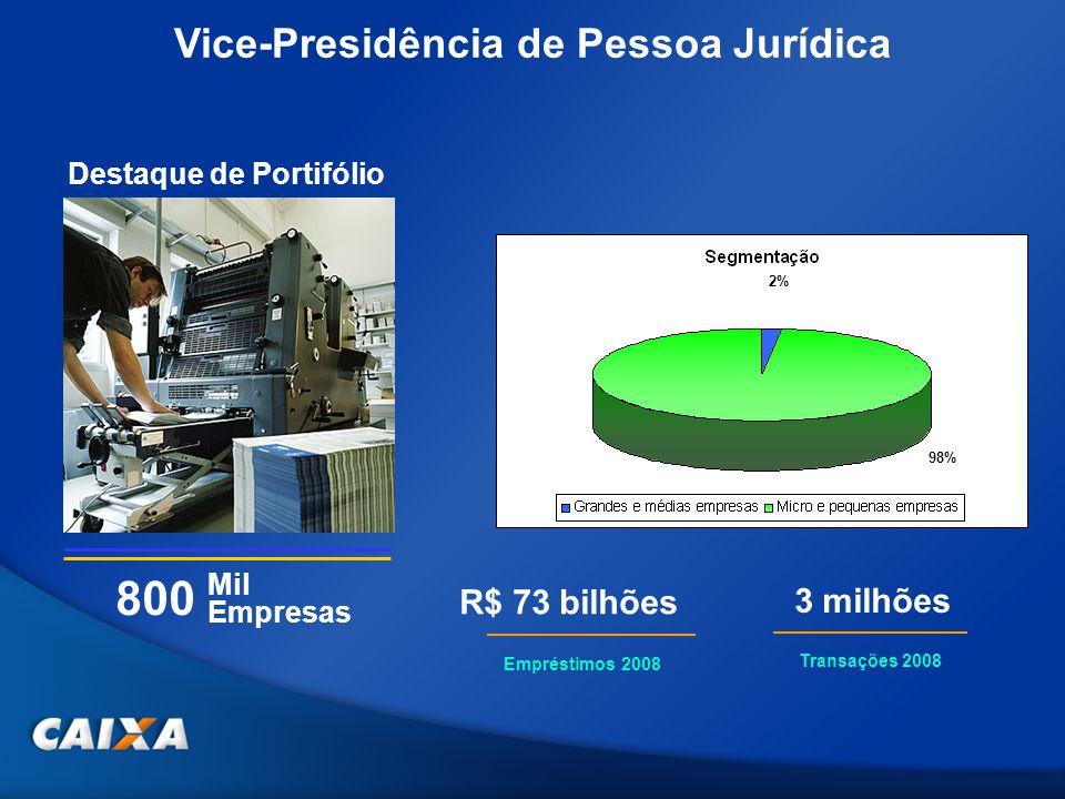 Mil Empresas Vice-Presidência de Pessoa Jurídica Destaque de Portifólio 800 Empréstimos 2008 R$ 73 bilhões Transações 2008 3 milhões 2% 98%