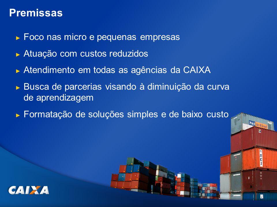 Premissas Foco nas micro e pequenas empresas Atuação com custos reduzidos Atendimento em todas as agências da CAIXA Busca de parcerias visando à dimin