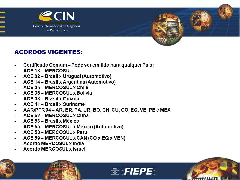 ACORDOS VIGENTES: -Certificado Comum – Pode ser emitido para qualquer País; -ACE 18 – MERCOSUL -ACE 02 – Brasil x Uruguai (Automotivo) -ACE 14 – Brasi