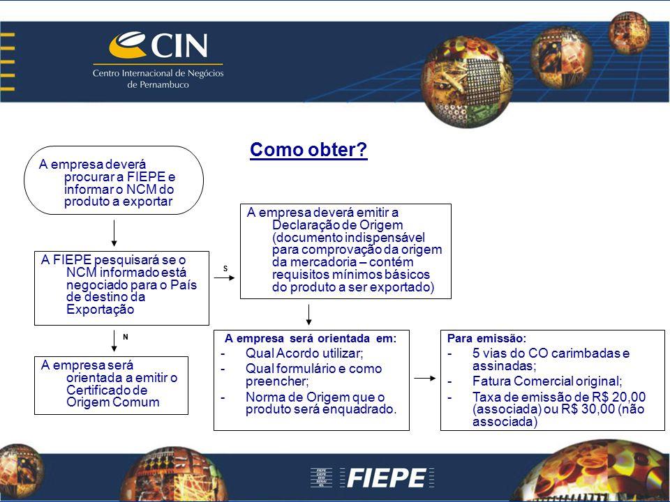 Como obter? A empresa deverá procurar a FIEPE e informar o NCM do produto a exportar A FIEPE pesquisará se o NCM informado está negociado para o País