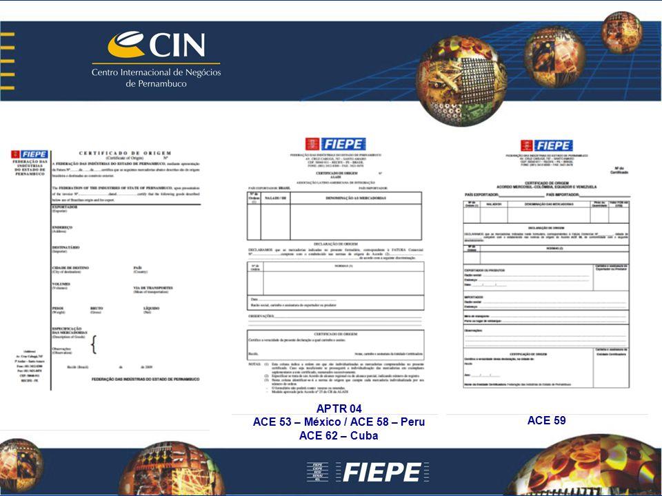 ACE 59 APTR 04 ACE 53 – México / ACE 58 – Peru ACE 62 – Cuba