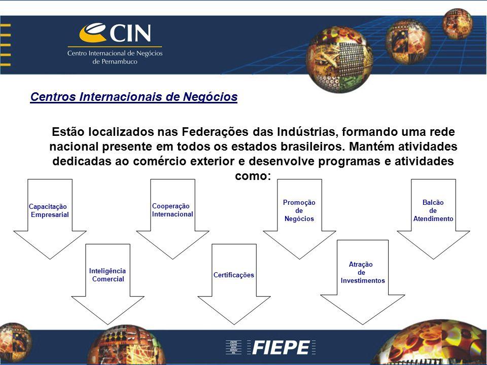 Centros Internacionais de Negócios Estão localizados nas Federações das Indústrias, formando uma rede nacional presente em todos os estados brasileiro