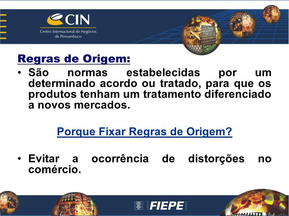 Regras de Origem: São normas estabelecidas por um determinado acordo ou tratado, para que os produtos tenham um tratamento diferenciado a novos mercad