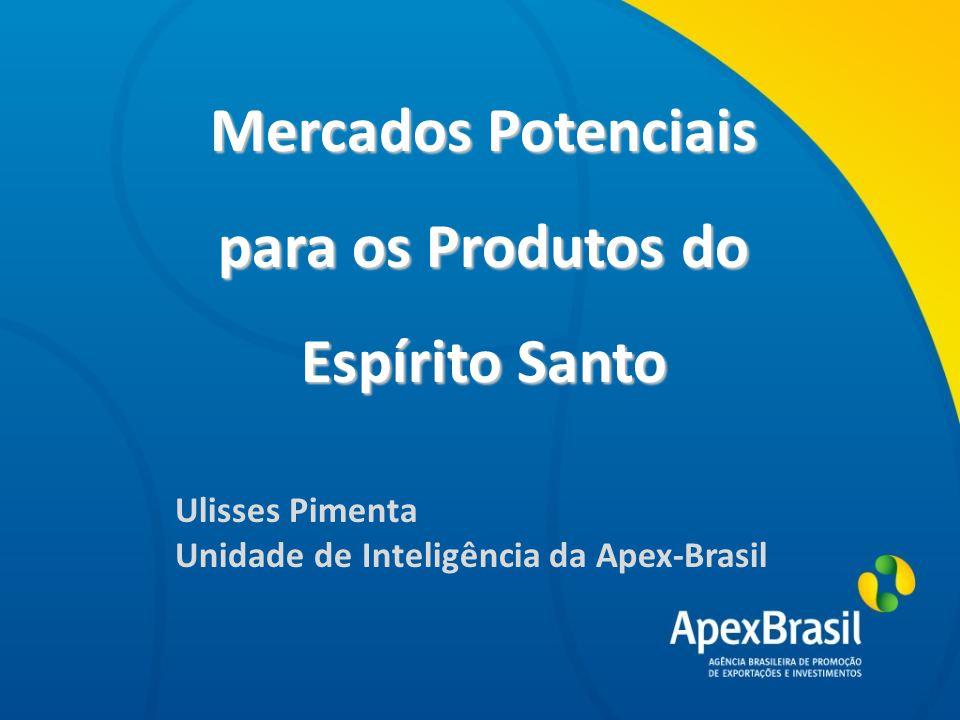 Título da apresentação Mercados Potenciais para os Produtos do Pará Ulisses Pimenta Unidade de Inteligência da Apex-Brasil Título da apresentação Mercados Potenciais para os Produtos do Espírito Santo Ulisses Pimenta Unidade de Inteligência da Apex-Brasil