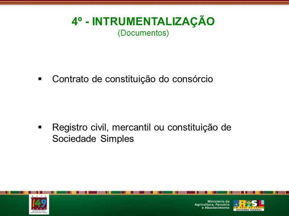 Contrato de constituição do consórcio Registro civil, mercantil ou constituição de Sociedade Simples 4º - INTRUMENTALIZAÇÃO (Documentos)