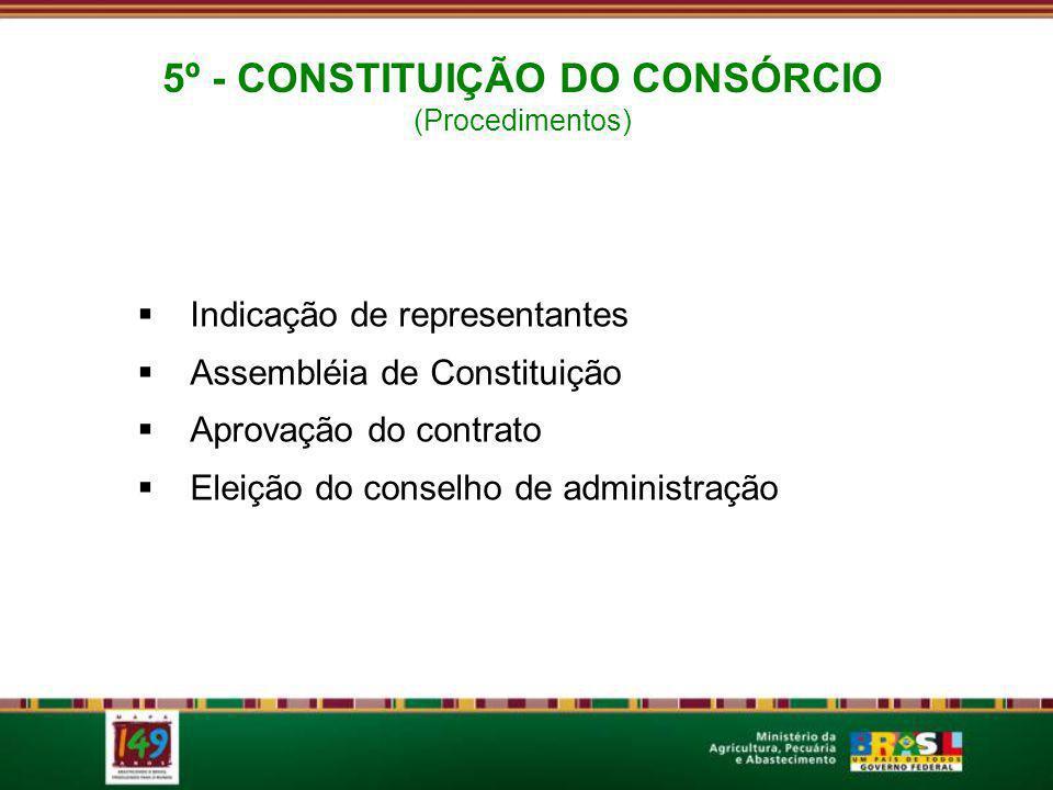 Indicação de representantes Assembléia de Constituição Aprovação do contrato Eleição do conselho de administração 5º - CONSTITUIÇÃO DO CONSÓRCIO (Procedimentos)