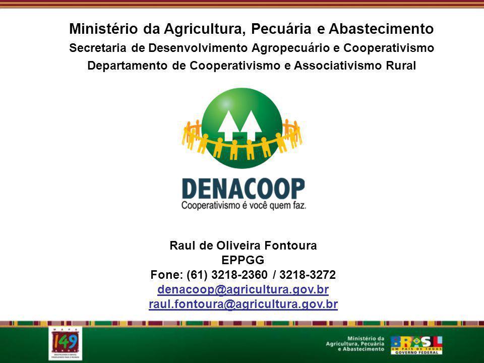 Ministério da Agricultura, Pecuária e Abastecimento Secretaria de Desenvolvimento Agropecuário e Cooperativismo Departamento de Cooperativismo e Associativismo Rural Raul de Oliveira Fontoura EPPGG Fone: (61) 3218-2360 / 3218-3272 denacoop@agricultura.gov.br raul.fontoura@agricultura.gov.br