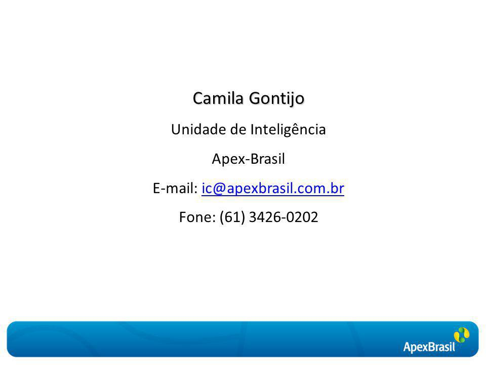 Camila Gontijo Unidade de Inteligência Apex-Brasil E-mail: ic@apexbrasil.com.bric@apexbrasil.com.br Fone: (61) 3426-0202