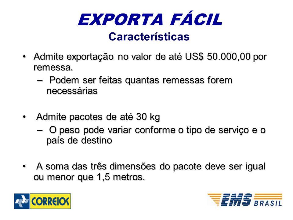 EXPORTA FÁCIL Características Admite exportação no valor de até US$ 50.000,00 por remessa.Admite exportação no valor de até US$ 50.000,00 por remessa.