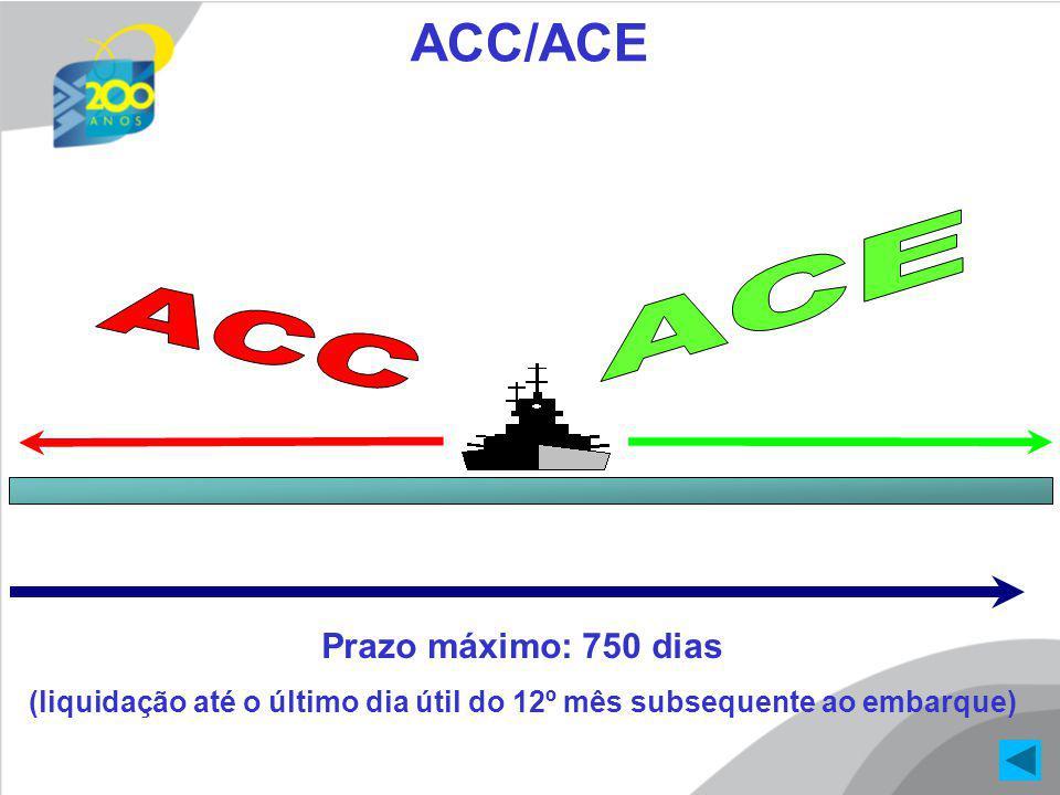 360 dias Prazo máximo: 750 dias (liquidação até o último dia útil do 12º mês subsequente ao embarque) ACC/ACE