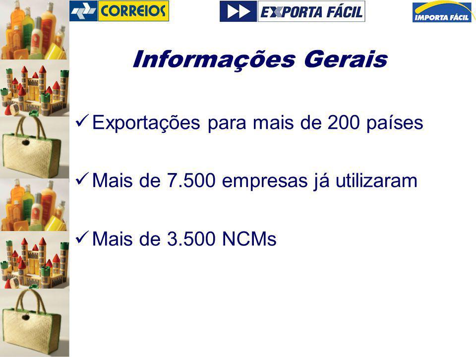 Informações Gerais Exportações para mais de 200 países Mais de 7.500 empresas já utilizaram Mais de 3.500 NCMs