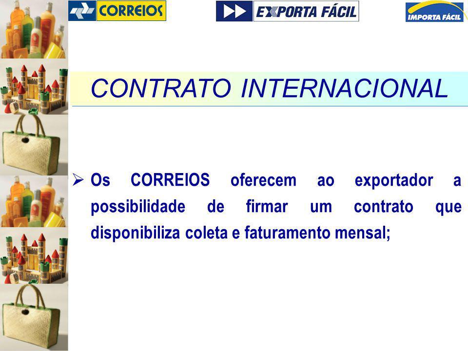 Os CORREIOS oferecem ao exportador a possibilidade de firmar um contrato que disponibiliza coleta e faturamento mensal; CONTRATO INTERNACIONAL