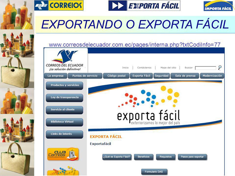 EXPORTANDO O EXPORTA FÁCIL www.correosdelecuador.com.ec/pages/interna.php?txtCodiInfo=77