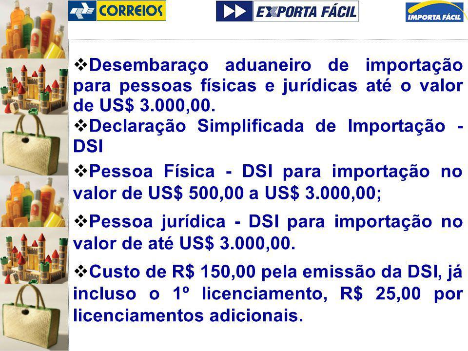 Desembaraço aduaneiro de importação para pessoas físicas e jurídicas até o valor de US$ 3.000,00. Declaração Simplificada de Importação - DSI Pessoa F