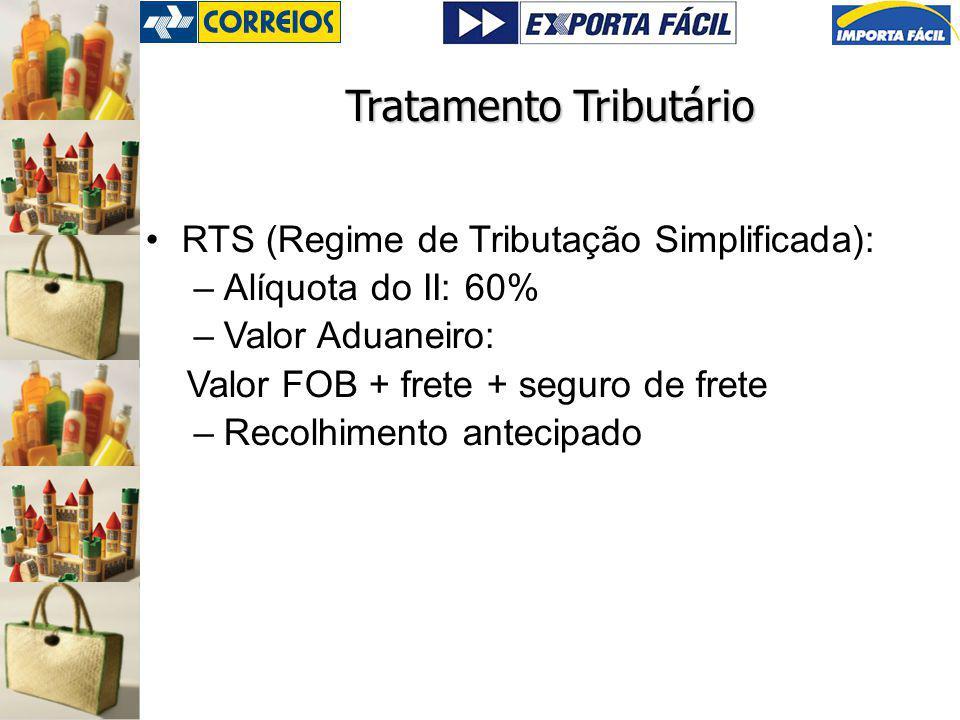 Tratamento Tributário RTS (Regime de Tributação Simplificada): –Alíquota do II: 60% –Valor Aduaneiro: Valor FOB + frete + seguro de frete –Recolhimento antecipado
