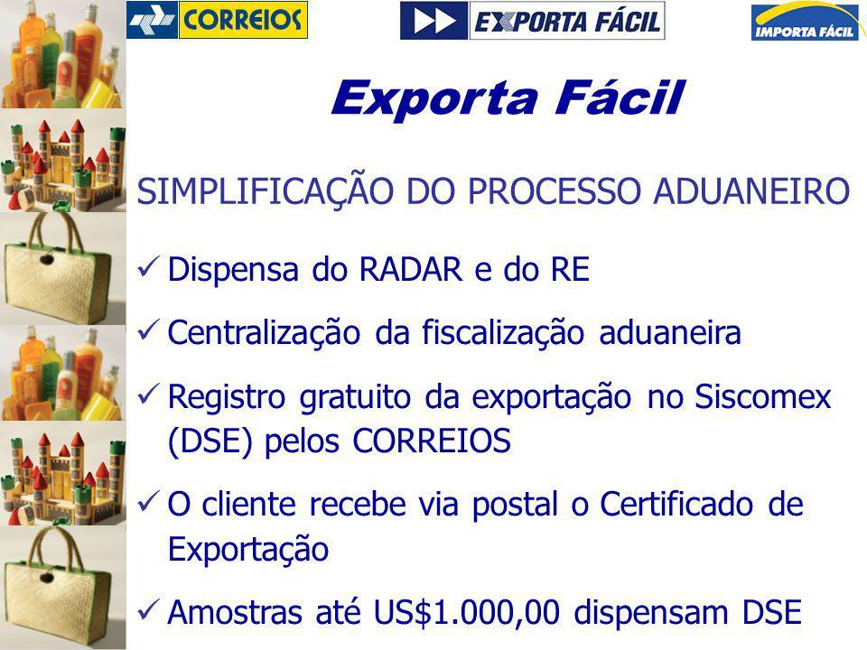Dispensa do RADAR e do RE Centralização da fiscalização aduaneira Registro gratuito da exportação no Siscomex (DSE) pelos CORREIOS O cliente recebe vi