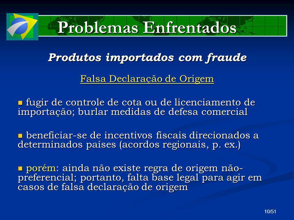 10/51 Problemas Enfrentados Produtos importados com fraude Falsa Declaração de Origem fugir de controle de cota ou de licenciamento de importação; bur