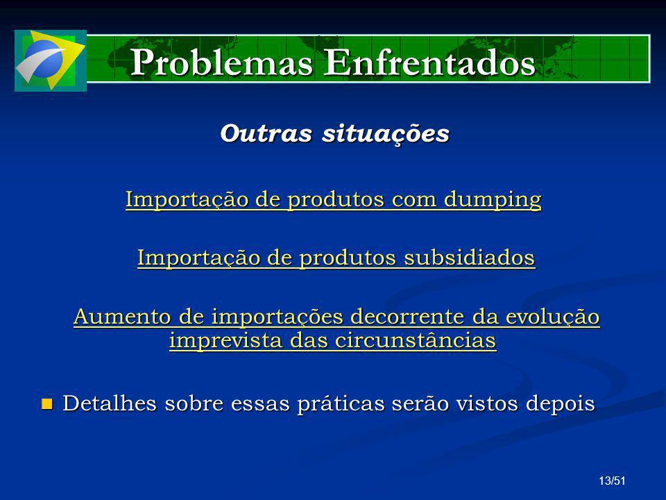 13/51 Problemas Enfrentados Outras situações Importação de produtos com dumping Importação de produtos subsidiados Importação de produtos subsidiados
