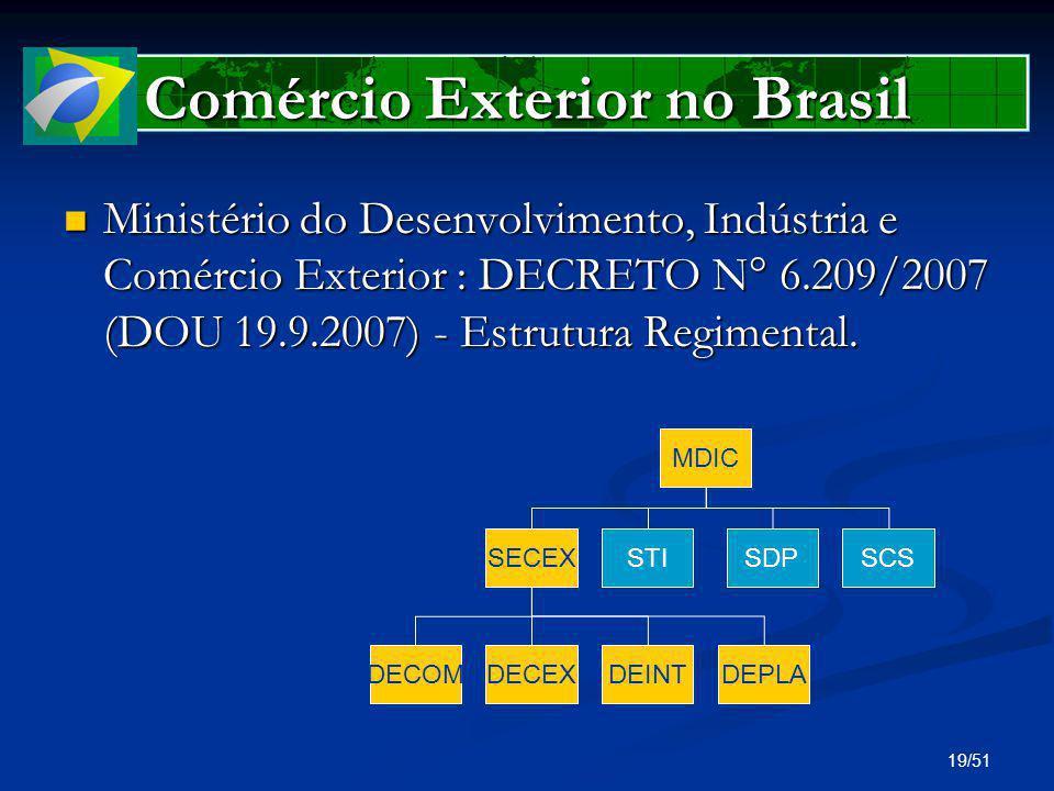 19/51 Comércio Exterior no Brasil Ministério do Desenvolvimento, Indústria e Comércio Exterior : DECRETO N° 6.209/2007 (DOU 19.9.2007) - Estrutura Reg