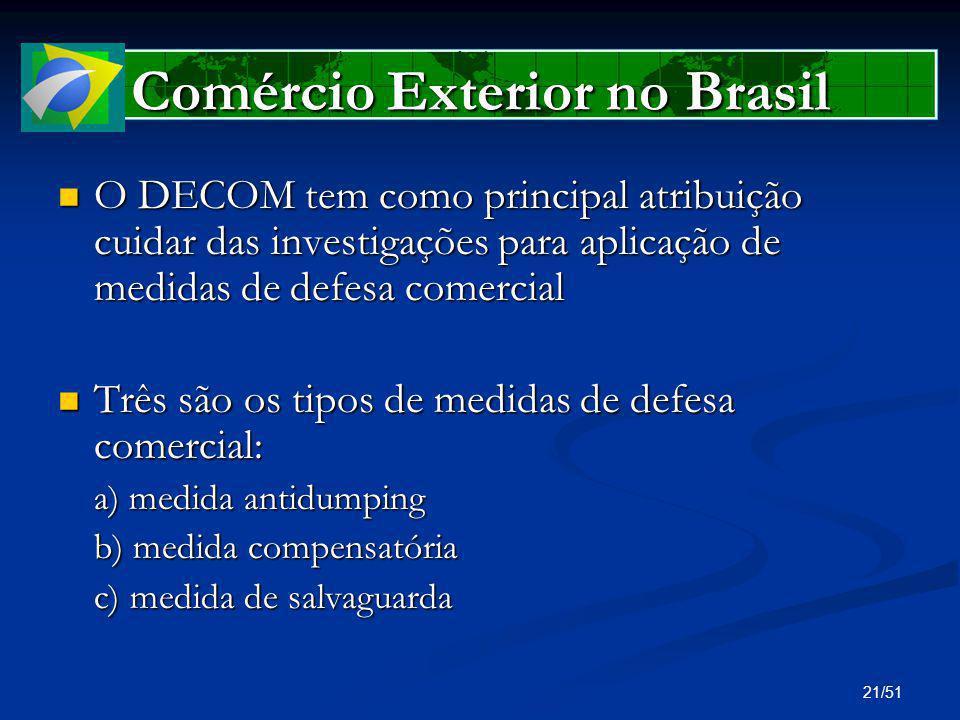 21/51 Comércio Exterior no Brasil O DECOM tem como principal atribuição cuidar das investigações para aplicação de medidas de defesa comercial O DECOM