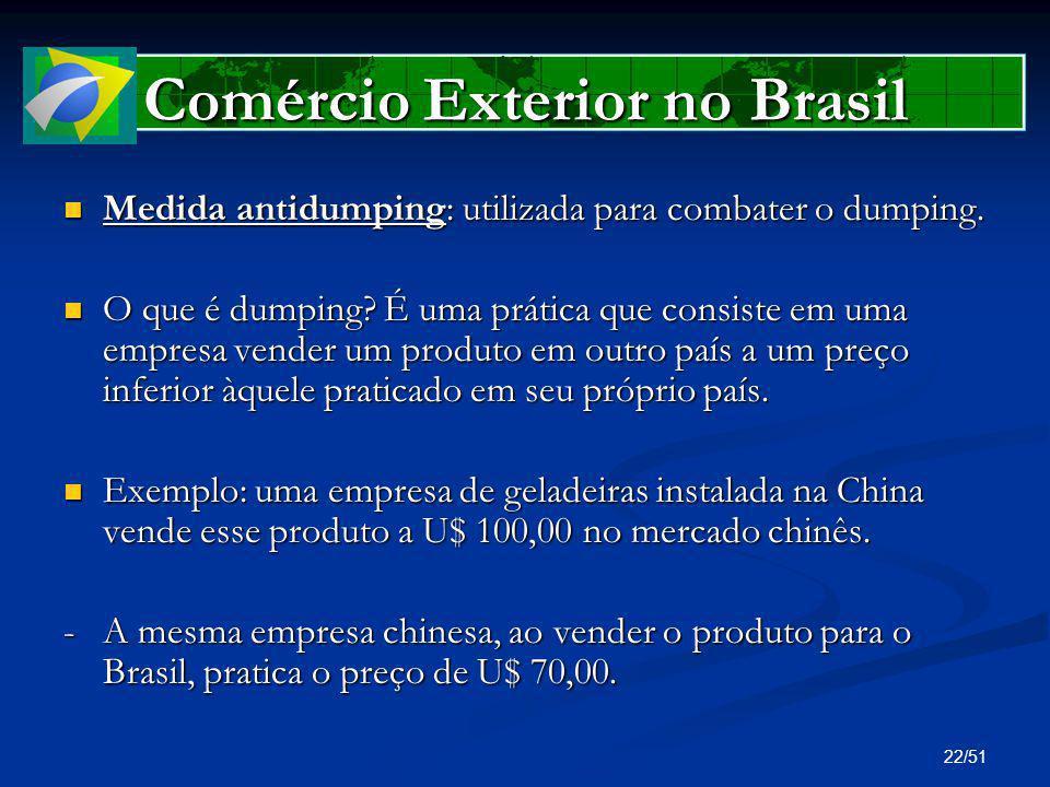 22/51 Comércio Exterior no Brasil Medida antidumping: utilizada para combater o dumping. Medida antidumping: utilizada para combater o dumping. O que