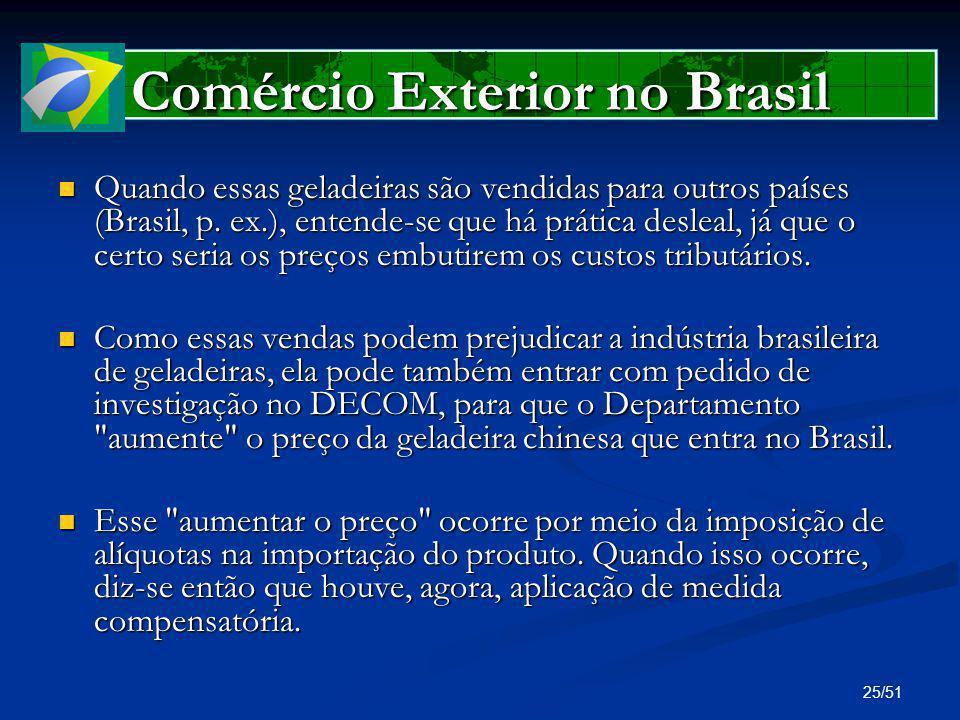 25/51 Comércio Exterior no Brasil Quando essas geladeiras são vendidas para outros países (Brasil, p. ex.), entende-se que há prática desleal, já que