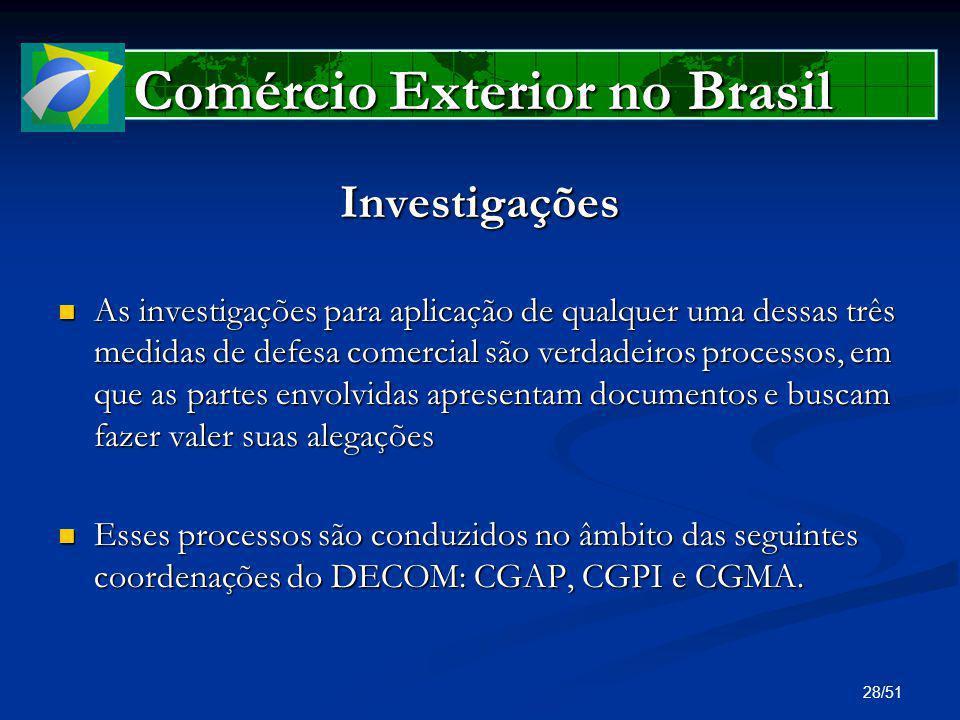 28/51 Comércio Exterior no Brasil Investigações As investigações para aplicação de qualquer uma dessas três medidas de defesa comercial são verdadeiro