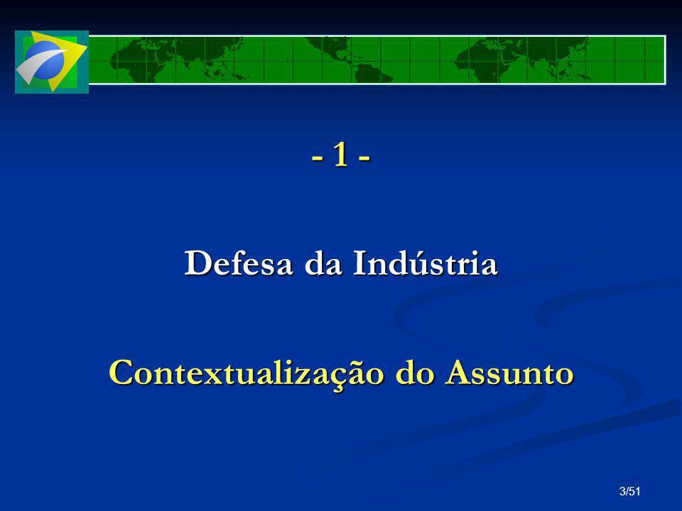 34/51 Comércio Exterior no Brasil Duas frentes da Defesa da Indústria: Duas frentes da Defesa da Indústria: (2) INTERLOCUÇÃO: com os órgãos do Governo Federal envolvidos com COMEX e Desenvolvimento com os órgãos do Governo Federal envolvidos com COMEX e Desenvolvimento com os parceiros comerciais do Brasil com os parceiros comerciais do Brasil