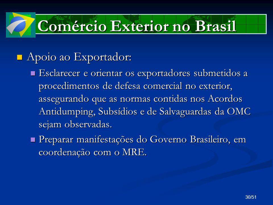 30/51 Comércio Exterior no Brasil Apoio ao Exportador: Apoio ao Exportador: Esclarecer e orientar os exportadores submetidos a procedimentos de defesa