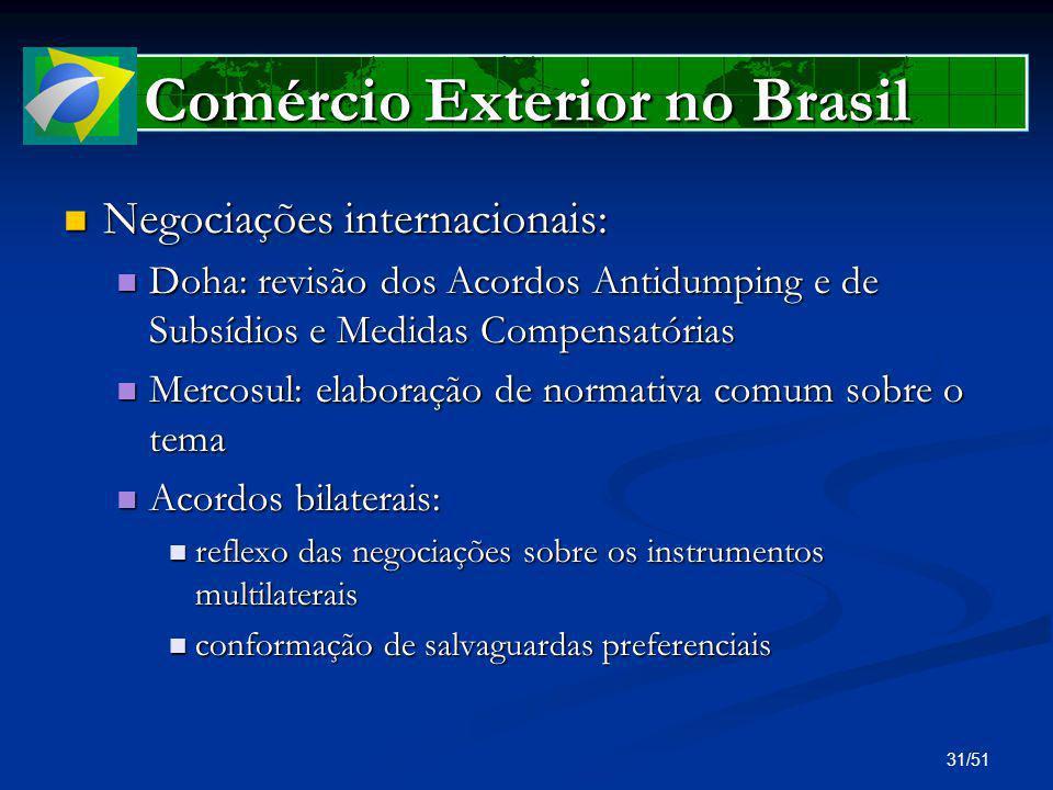 31/51 Comércio Exterior no Brasil Negociações internacionais: Negociações internacionais: Doha: revisão dos Acordos Antidumping e de Subsídios e Medid