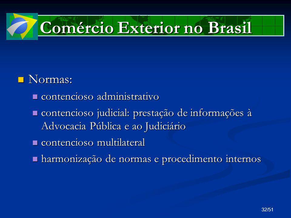 32/51 Comércio Exterior no Brasil Normas: Normas: contencioso administrativo contencioso administrativo contencioso judicial: prestação de informações