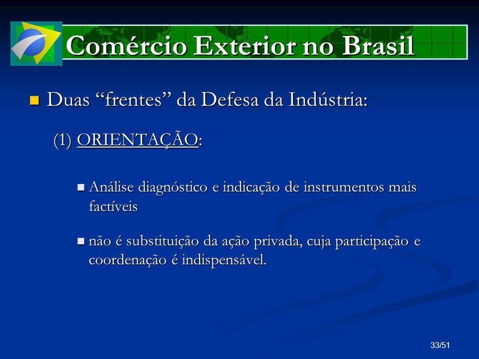 33/51 Comércio Exterior no Brasil Duas frentes da Defesa da Indústria: Duas frentes da Defesa da Indústria: (1) ORIENTAÇÃO: Análise diagnóstico e indi