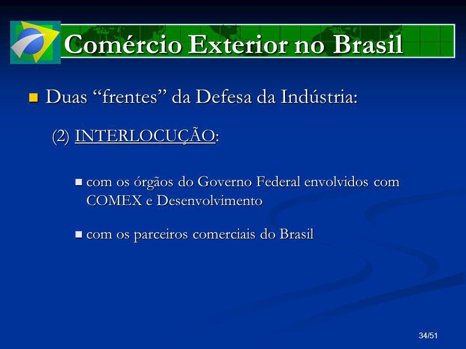 34/51 Comércio Exterior no Brasil Duas frentes da Defesa da Indústria: Duas frentes da Defesa da Indústria: (2) INTERLOCUÇÃO: com os órgãos do Governo