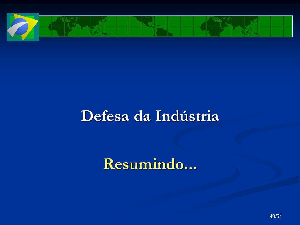48/51 Defesa da Indústria Resumindo...