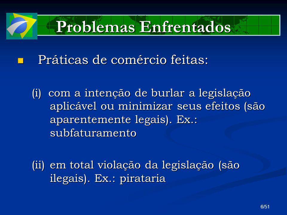 6/51 Problemas Enfrentados Práticas de comércio feitas: Práticas de comércio feitas: (i)com a intenção de burlar a legislação aplicável ou minimizar s