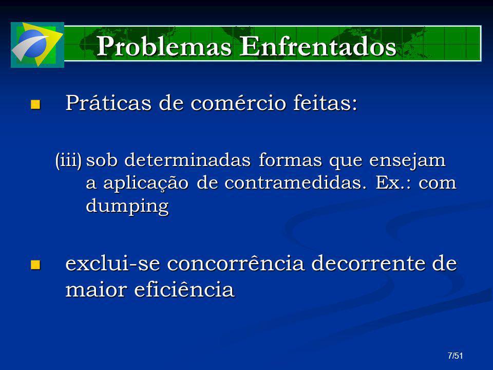 28/51 Comércio Exterior no Brasil Investigações As investigações para aplicação de qualquer uma dessas três medidas de defesa comercial são verdadeiros processos, em que as partes envolvidas apresentam documentos e buscam fazer valer suas alegações As investigações para aplicação de qualquer uma dessas três medidas de defesa comercial são verdadeiros processos, em que as partes envolvidas apresentam documentos e buscam fazer valer suas alegações Esses processos são conduzidos no âmbito das seguintes coordenações do DECOM: CGAP, CGPI e CGMA.