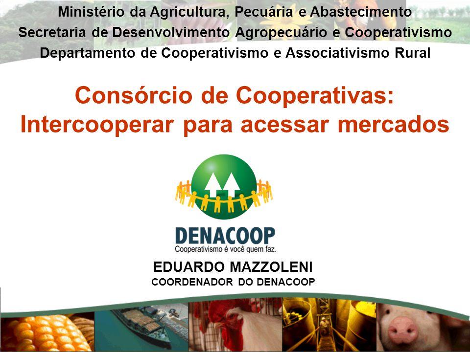 Consórcio de Cooperativas: Intercooperar para acessar mercados Ministério da Agricultura, Pecuária e Abastecimento Secretaria de Desenvolvimento Agrop