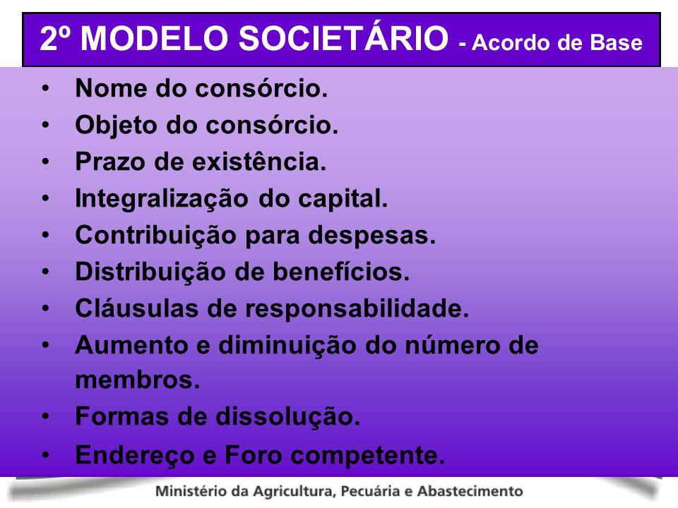 2º MODELO SOCIETÁRIO - Acordo de Base Nome do consórcio. Objeto do consórcio. Prazo de existência. Integralização do capital. Contribuição para despes