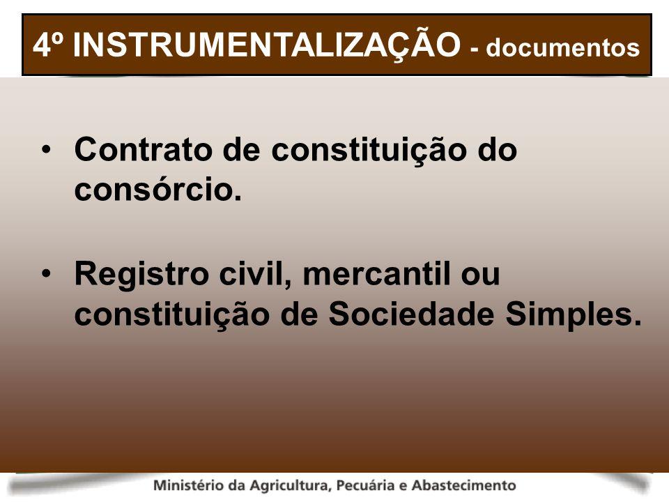 4º INSTRUMENTALIZAÇÃO - documentos Contrato de constituição do consórcio. Registro civil, mercantil ou constituição de Sociedade Simples.