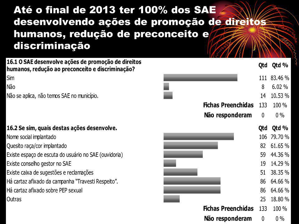 Até o final de 2013 ter 100% dos SAE desenvolvendo ações de promoção de direitos humanos, redução de preconceito e discriminação