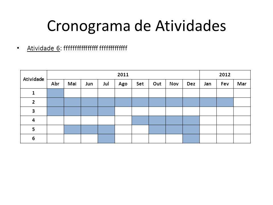 Cronograma de Atividades Atividade 20112012 AbrMaiJunJulAgoSetOutNovDezJanFevMar 1 2 3 4 5 6 Atividade 6: ffffffffffffffff fffffffffffff