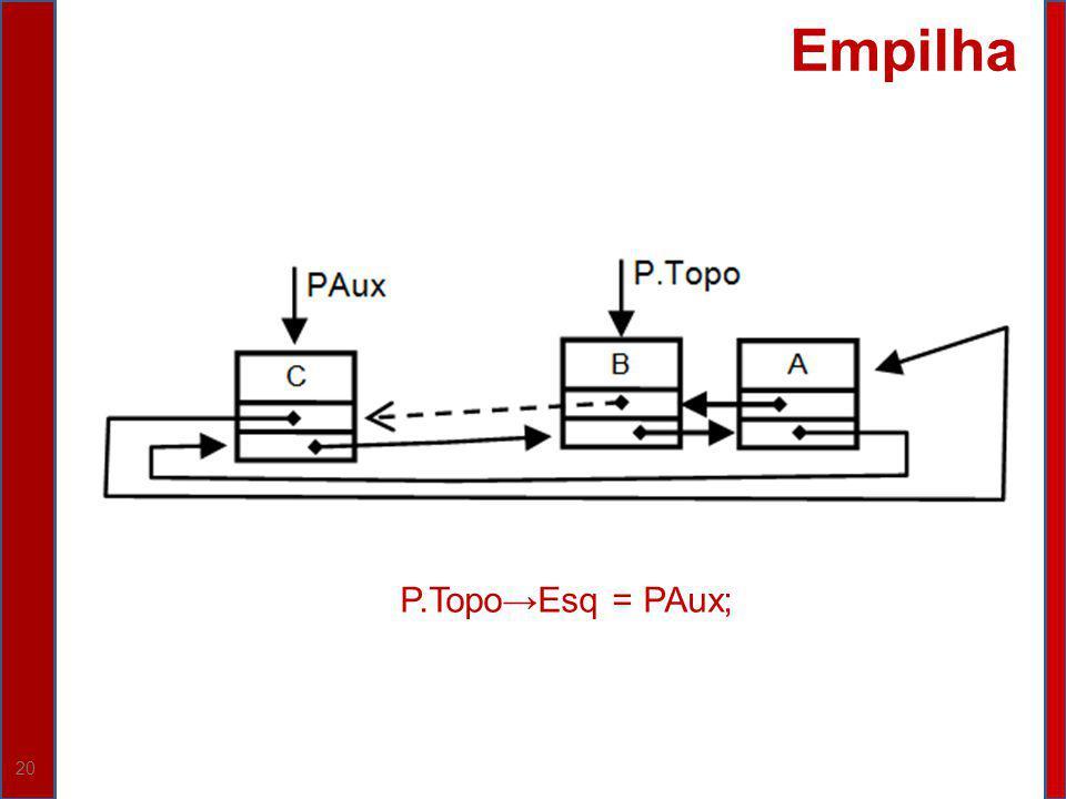 20 Empilha P.TopoEsq = PAux;