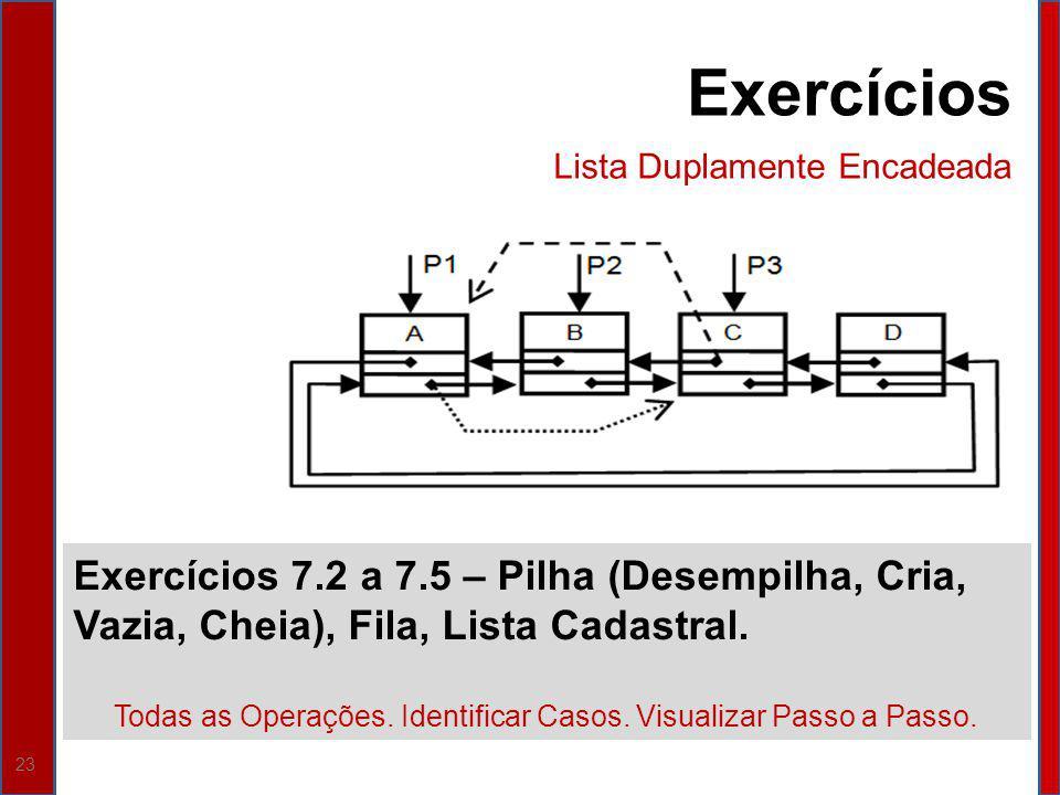 23 Exercícios 7.2 a 7.5 – Pilha (Desempilha, Cria, Vazia, Cheia), Fila, Lista Cadastral. Todas as Operações. Identificar Casos. Visualizar Passo a Pas