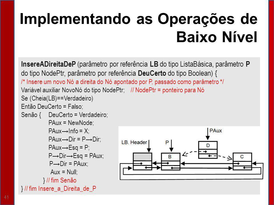 41 Implementando as Operações de Baixo Nível InsereADireitaDeP (parâmetro por referência LB do tipo ListaBásica, parâmetro P do tipo NodePtr, parâmetr