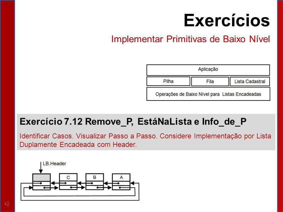 42 Exercício 7.12 Remove_P, EstáNaLista e Info_de_P Identificar Casos. Visualizar Passo a Passo. Considere Implementação por Lista Duplamente Encadead