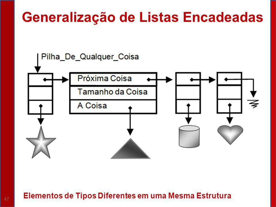 47 Generalização de Listas Encadeadas Elementos de Tipos Diferentes em uma Mesma Estrutura