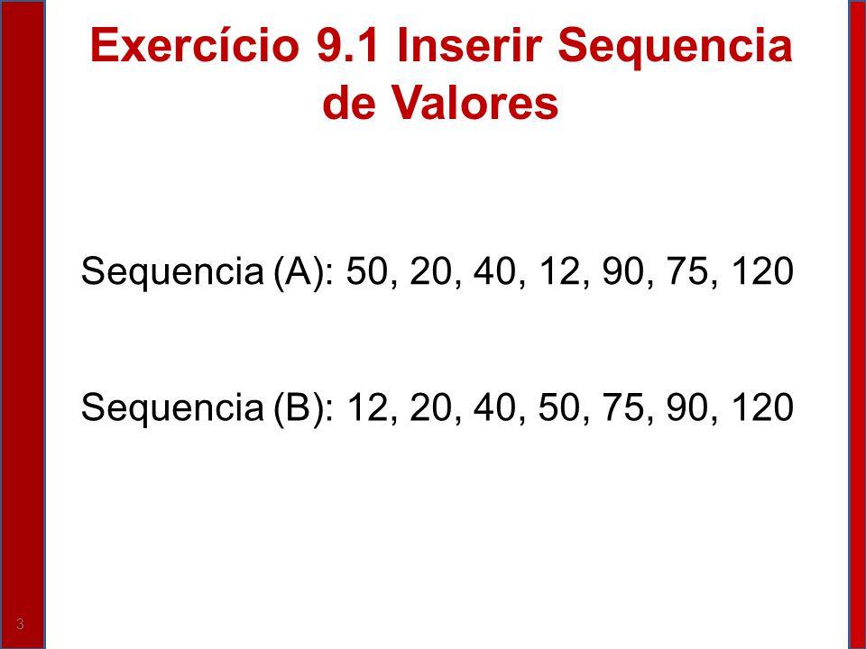 3 Exercício 9.1 Inserir Sequencia de Valores Sequencia (A): 50, 20, 40, 12, 90, 75, 120 Sequencia (B): 12, 20, 40, 50, 75, 90, 120