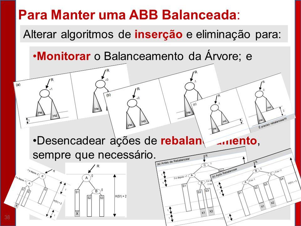 38 Para Manter uma ABB Balanceada: Alterar algoritmos de inserção e eliminação para: Monitorar o Balanceamento da Árvore; e Desencadear ações de rebal